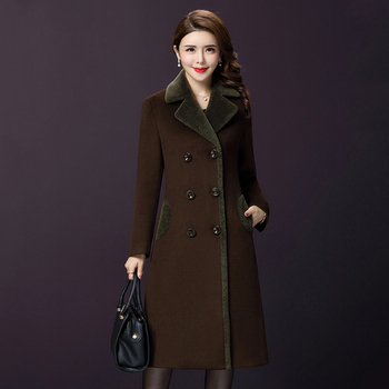 Autumn Middle Aged Women Wool Coat  New Style Winter Pure Color Double-breasted And Xxxxl Designs Female Simple Fashion Tops