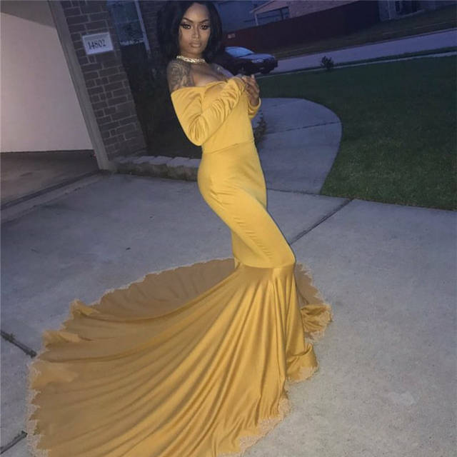 e20348cc51ab placeholder Graduation party dresses Yellow Long Sleeve Mermaid Satin Prom  Dress Boat Neck robe longue femme soiree