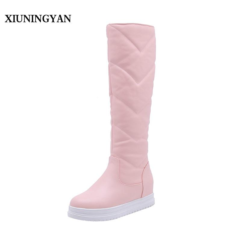 c68fec253 Moda blanco Redonda Negro De Botas 43 Zapatos Cuña Mujer Super Tubo Mujeres  Señora 34 2019 Xiuningyan Altura Invierno ...