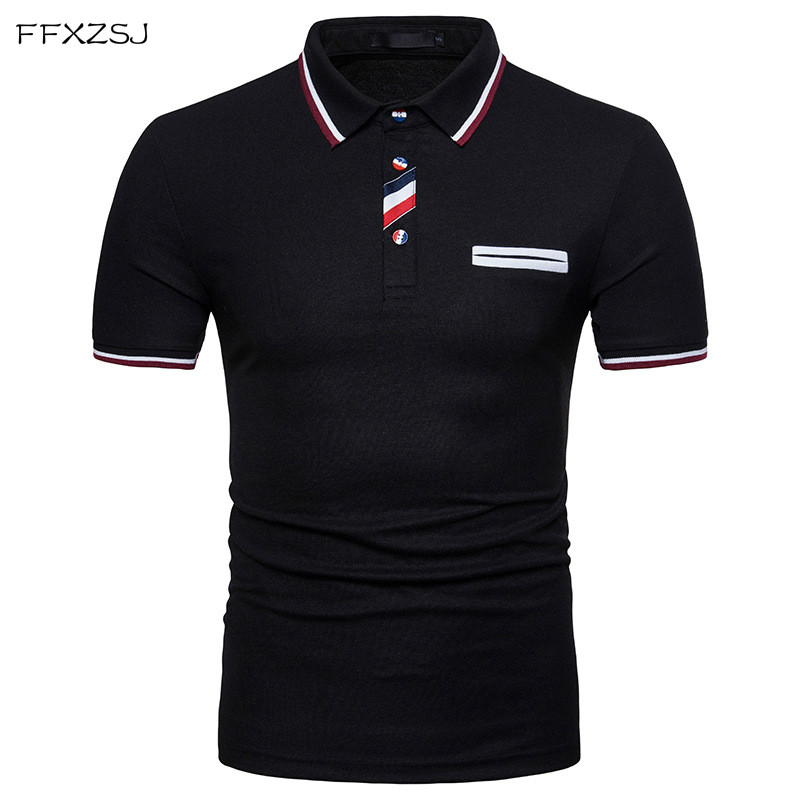 FFXZSJ 2018 high quality summer fashion men's casual simple buttons, coloured lapel, short sleeved   polo