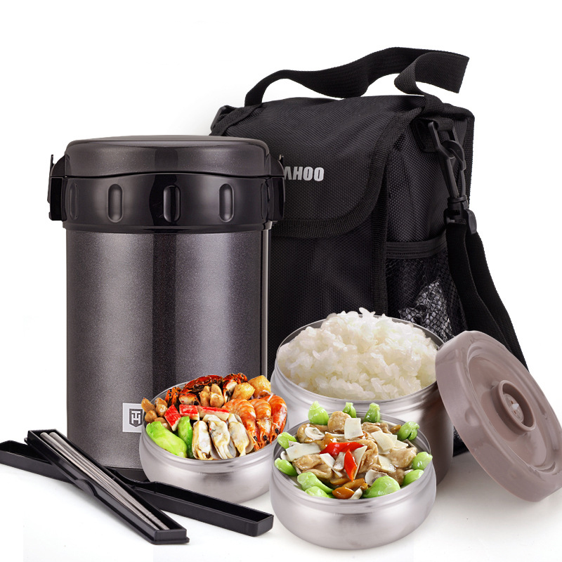 Unibird 2 2L Double 304 Stainless Steel Vacuum Flasks Food Thermos 3 layers Lunch Box with