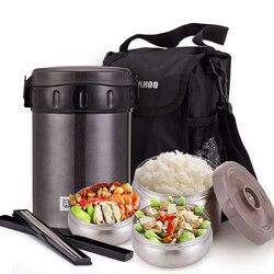 Unibird 2.2L podwójne 304 kubki próżniowe ze stali nierdzewnej termos na żywność 3 warstwy pudełko na lunch z torbą pałeczki z podgrzewaną wodą pojemnik na jedzenie w Pudełka śniadaniowe od Dom i ogród na
