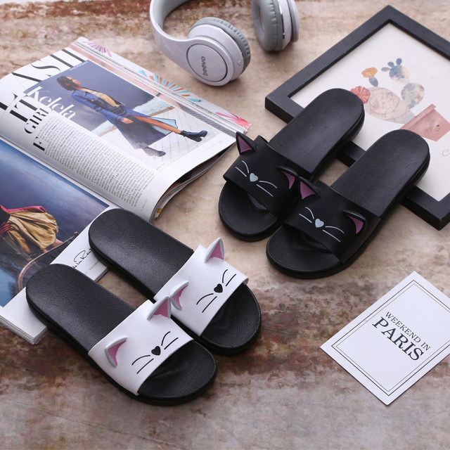 d7bb71088686 Lovers Cartoon Cat Women Slippers Flip Flops Women slap Beach Slides Sandals  Casual Shoes Slip On Summer slippers