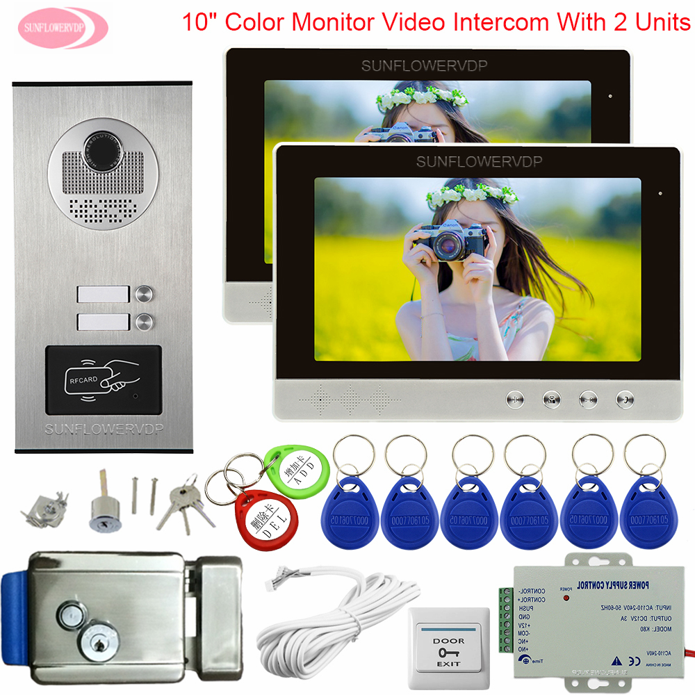 10 Inchs  Video Entry Phone Video Intercom For 2 /3/4/6 Apartments Intercoms For Private Houses With Lock Video Doorbell System