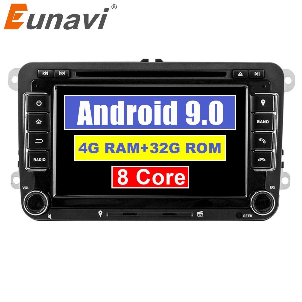 Eunavi 2 Octa Núcleo Android 9.0 Din Carro dvd player Para VW GOLF JETTA POLO PASSAT TOURAM B6 GPS Navi tela de toque de Rádio estéreo usb