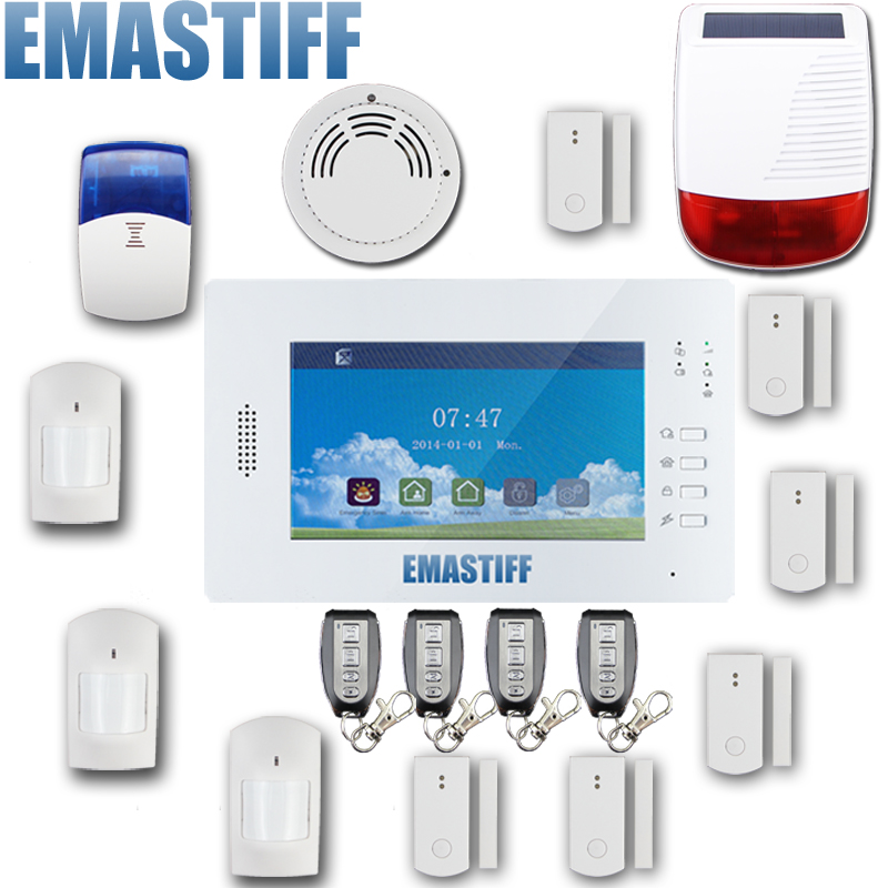 GSM Wireless Home Alarm System Touch Panel with Full touch screen 868mhz alarm with solar siren 868mhz wireless gsm alarm system 7 inch touch screen home alarm with bulit in lithium battery with wireless outdoor solar siren