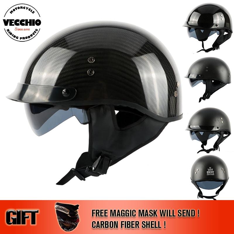VECCHIO Casco medio de motocicleta vintage de fibra de carbono Capacete Casco Jet cascos retro tamaño 888 M-2XL