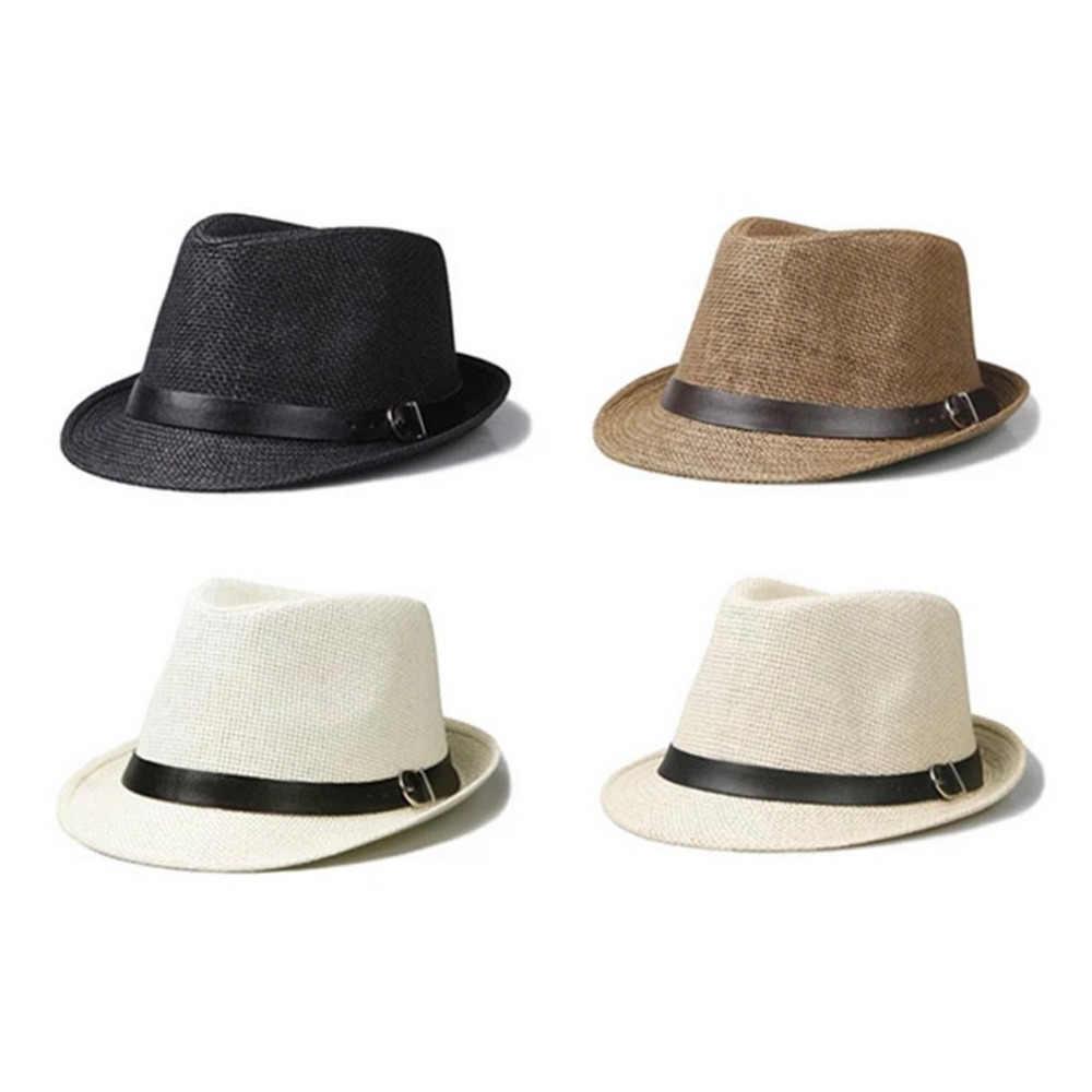 298ba3665b395 ... 2018 Men s Sun Hats Summer Straw Jazz Hat Men Large Size Comfortable  Unisex Beach Seaside Panama