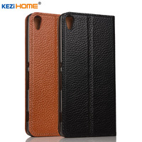 For Sony Xperia E5 Case KEZiHOME Litchi Genuine Leather Flip Stand Leather Cover Capa For Sony