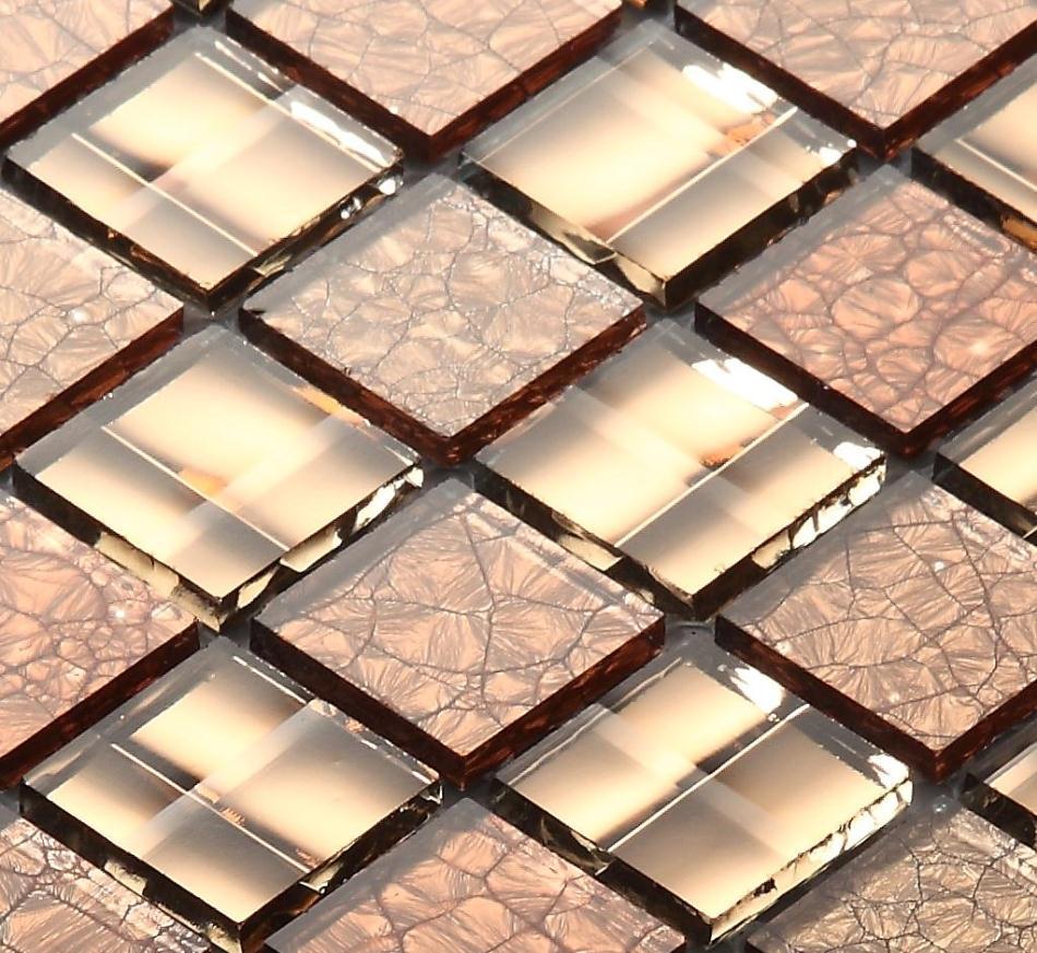 Metal mosaic tile mirror kitchen backsplash metal crystal glass stone - Brown Crystal Mirror Glass Mosaic Tiles Hmgm2010 For Kitchen Backsplash Tile Bathroom Shower Hallway Wall Mosaic
