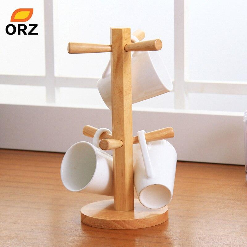 Orz Tree Shape Wood Coffee Tea Cup Storage Holder Stand