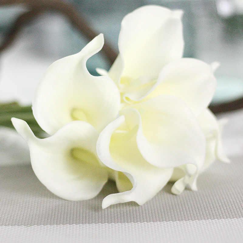 10 cabezas blancas azules lirio Artificial Boda nupcial ramo cabeza látex tacto Real flor Artificial boda decoración
