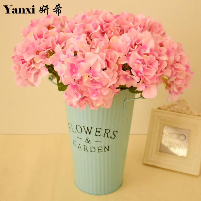 Hydrangea artificial flowers with vase set for wedding dining table hydrangea artificial flowers with vase set for wedding dining table home living room decoration silk fake mightylinksfo Images
