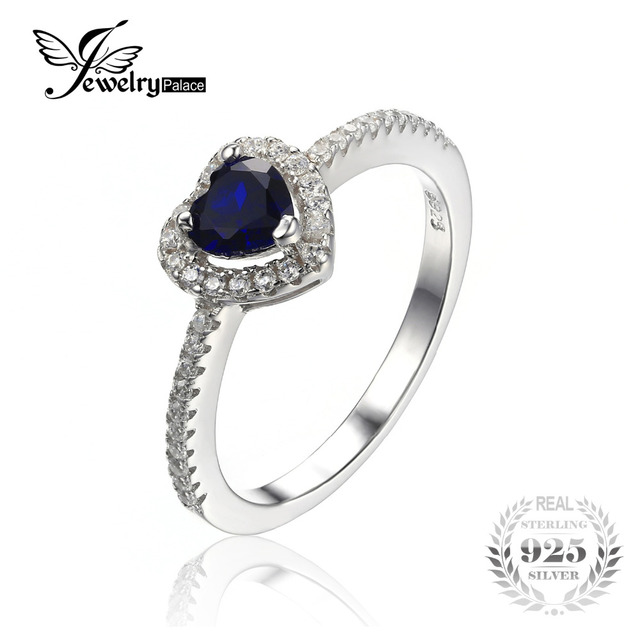 JewelryPalace Heart Of The Ocean 0.6ct Created Blue Sapphire 925 Sterling Silver Ring For Women 2016 Wedding Rings Fine Jewelry
