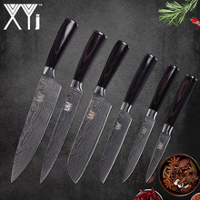 hot deal buy xyj stainless steel kitchen knives 6 piece set chef slicing santoku utility paring knives beauty pattern cooking accessories