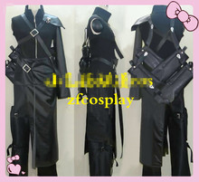 New Final Fantasy FF7 Cloud Strife Cosplay Costume Outfit PU Leather Halloween Adult Costumes for Women/Men Custom Any Size
