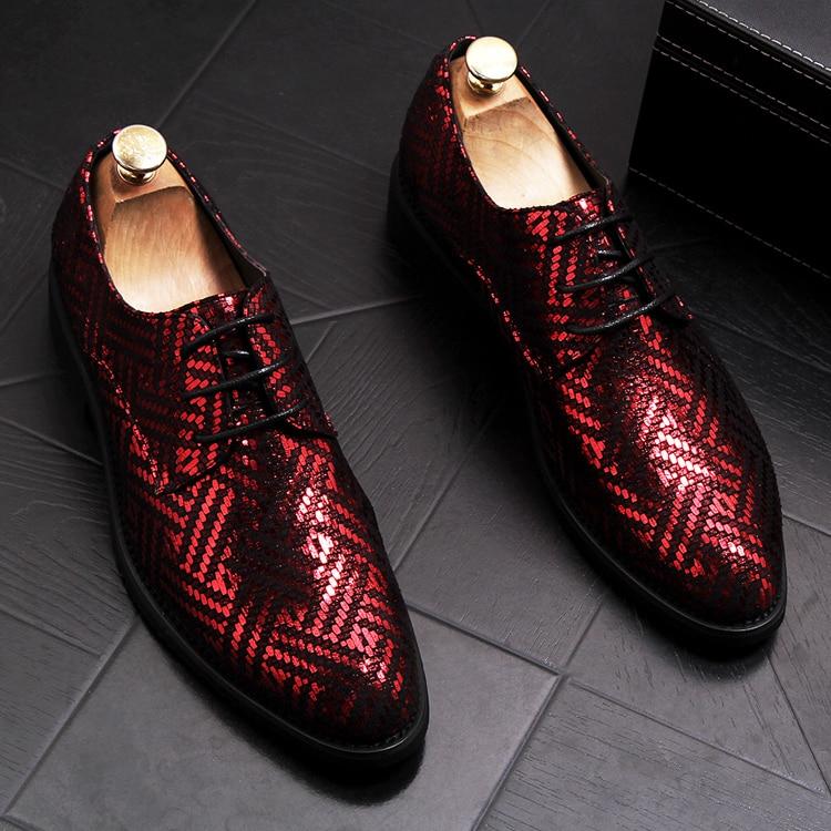 Dos De Homens Respirável Pé Do Moda Qualidade Alta Couro Lantejoulas Plataforma Bling Apontado Banquete Sneakers Casamento Dedo Sapato Sapatos Zapatos Macio pqq01w