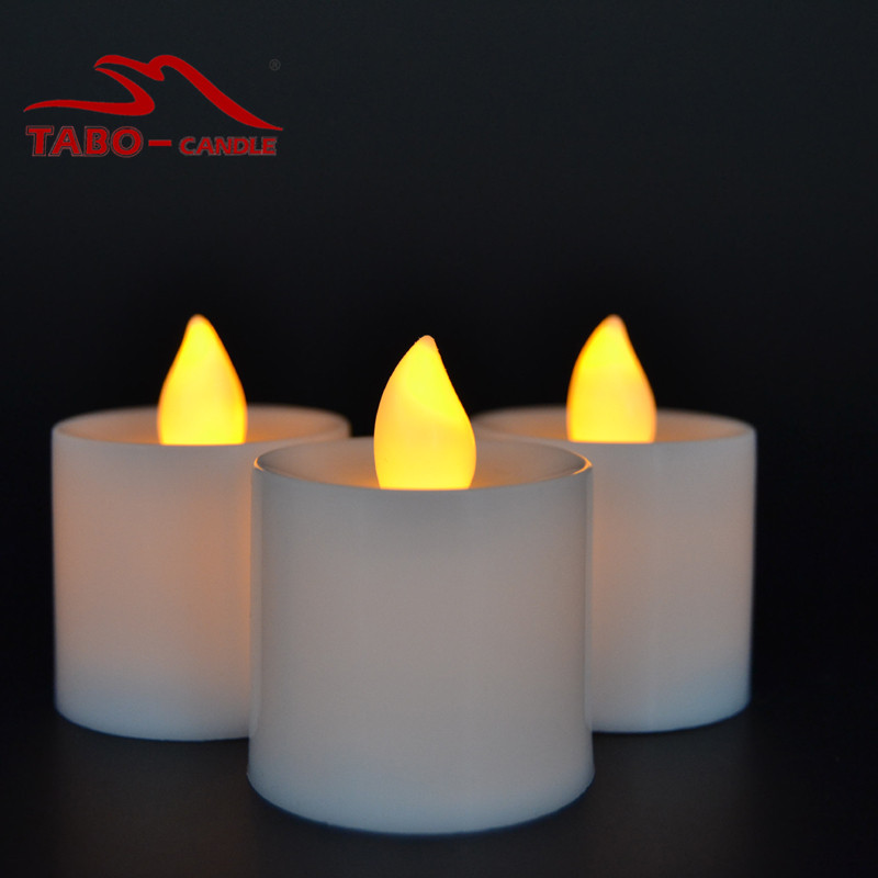 Battery Operated Flickering Steady LED Tealight Flameless Candles for Wedding Party Yellow Set of 12