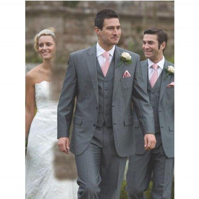 Gentleman Grey Slim Fit Men Suit Groomsmen 3 Piece Wedding Suits For Man Clothing