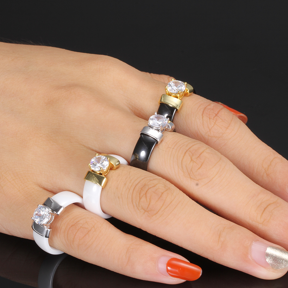 Stylish Ceramic Crystal Ring Jewelry Rings Women Jewelry