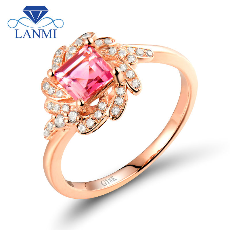 Trendy Princess Cut 5x5mm Pink Tourmaline Gemstone Ring Diamond In 18K Rose Gold For Par ...