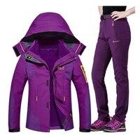 Для женщин Кемпинг Пеший Туризм куртка брюки 1 компл. открытый Водонепроницаемый ветрозащитный с плотным ворсом Восхождение куртки и брюки