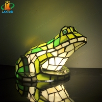 New European frog night light bedroom study bar glass green insect lighting fashion art Tiffanylamps Children's sleep bed light