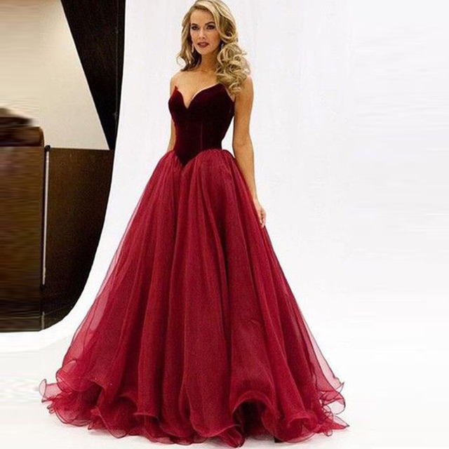 Dropped Taille Burgund Tüll Prom Dresses Sexy Fashion Jahrgang Puffy ...