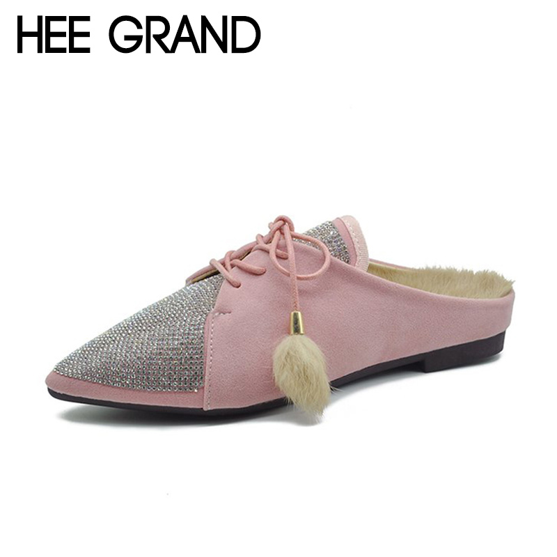HEE GRAND 2018 New Women Flats Lace-up Women Faux Fur with Bling Pointed Toe Platform Slip-on Causal Fashion Mujer Shoes XWD6941 hee grand 2018 new fashion flats shoes women oxfords faux fur pu leather solid mother causal slip on british style shoes xwd6955