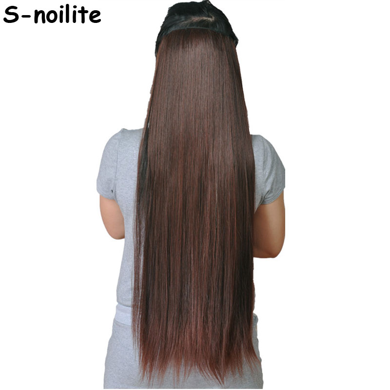 S-noilite 30 Inches   76CM Fall To Hips Clip In One Piece Hair Extensions 3/4 Head 5 Clips Straight Synthetic Hairpiece