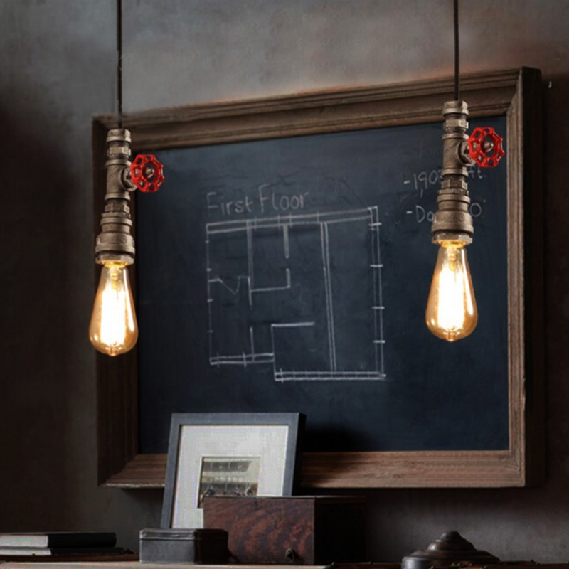 diy pipe lighting. aliexpresscom buy vintage lamp retro suspension luminaire industrial diy pipe lighting fixture e27 holder water for restaurant bar dinningro from diy