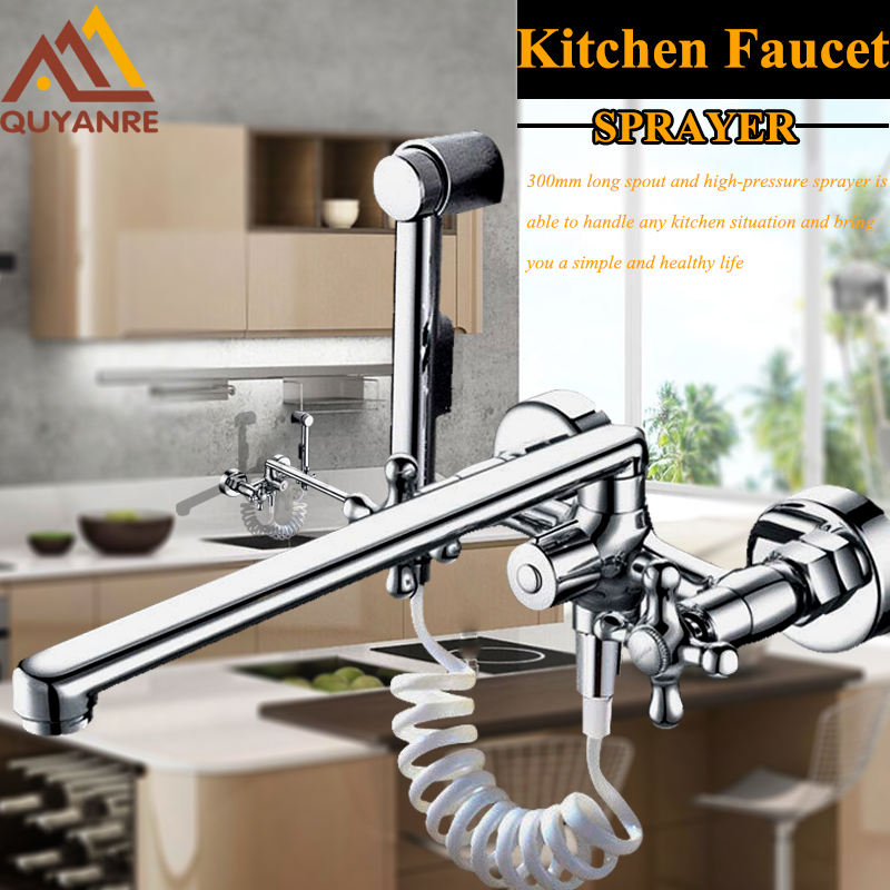300mm Outlet Pipe Nose Chrome Dual Spout Pull Out Kitchen Faucet Wall Mounted Spray Kitchen Taps