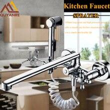 300 мм выпускная труба хром двойной Носик Pull Out Кухонные Смесители Настенные спрей Кухня ОТВЕТВИТЕЛЕЙ с водой Tuyaux