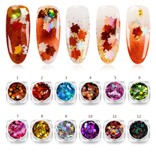 Mtssii Maple Leaf Nail Art Sequin Autumn Design Spangles for Nails Laser Nail Art Decoration Symphony Nail Flake Applique 1 PC