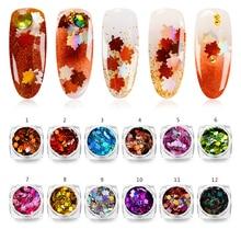 Mtssii Maple Leaf Nail Art cekiny jesień projekt Spangles dla paznokci laserowe zdobienie paznokci dekoracje symfonia paznokci płatek aplikacja 1 PC
