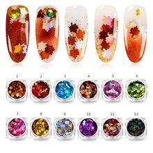 Mtssii лазер для ногтей с кленовыми листьями, блестками, осенний дизайн, расцветки для ногтей, лазерное украшение для ногтей, симфоническая аппликация в виде хлопьев для ногтей, 1 шт.