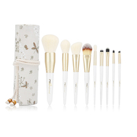 Retail Professional 9pcs Makeup Brush With Flowersdesign Delicate Resin Cylinder White Makeup Beauty Blush Foundation