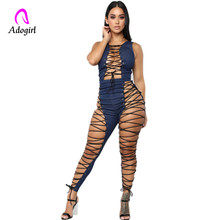 Denim Sexy Bandage Jumpsuit Women Bodycon Sleeveless Jean Summer Hollow Out Back Zipper Jeans Rompers