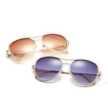 09a52b33e5 Gafas de sol de piloto decorativas de hombre para mujer, gafas de sol de  diseño de marca de diamantes de imitación, montura de c.