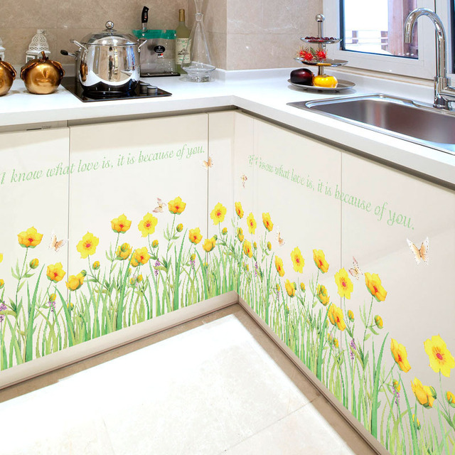 Pvc Small Yellow Flowers Skirting Wall Stickers Cabinets Bathroom