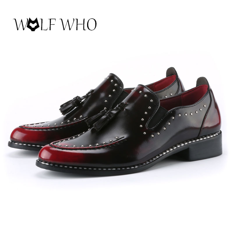 WolfWho Men Loafers Leather Men Rivets Dress Shoes Zapatillas Zapatos Hombre Sapatos Homens Driving Mocassin Wedding Party Shoes full rivets studded espadrilles men black casual flat shoes loafers wedding dress shoes mocassin homme flats sapatos masculino