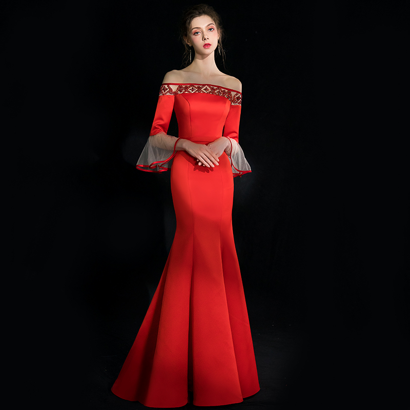 JaneVini 2019 Off the Shoulder Beaded Red Satin Long   Bridesmaid     Dresses   Poet Sleeves Backless Mermaid Charming Formal Prom Gowns