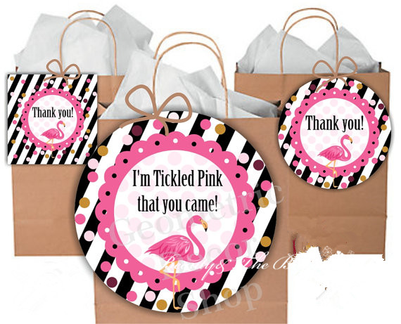 Personalized Flamingo Tags Gift Stickers Kids Happy Birthday Party StickersBirthday Decorations Baby Shower In Favors From Home