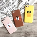 For iPhone 6 6S 7 Plus+ Line Friend Cartoon Brown Bear Cony Rabbit Duck Ultra Thin Full Protection IMD Sofy Case Back Cover