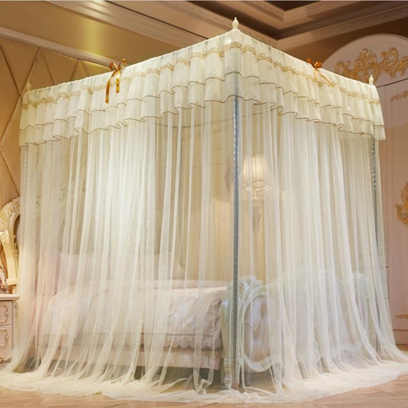 Moustiquaire lit filet baldaquin lit rideau avec quatre coins trois portes climatiseur ouvert moustiquaires cadres reine roi