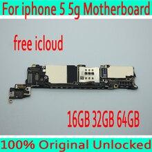 16 ГБ 32 ГБ 64 ГБ оригинальный разблокирован для iphone 5 материнская плата с полным чипом, Бесплатная iCloud для iphone 5 5g материнская плата