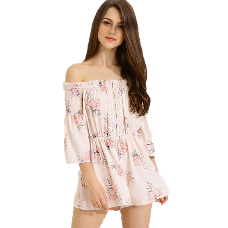 Rompers Womens Jumpsuit Floral Print Ruffles Playsuits Off Shoulder Female Casual Summer Clothing Short Women Playsuits