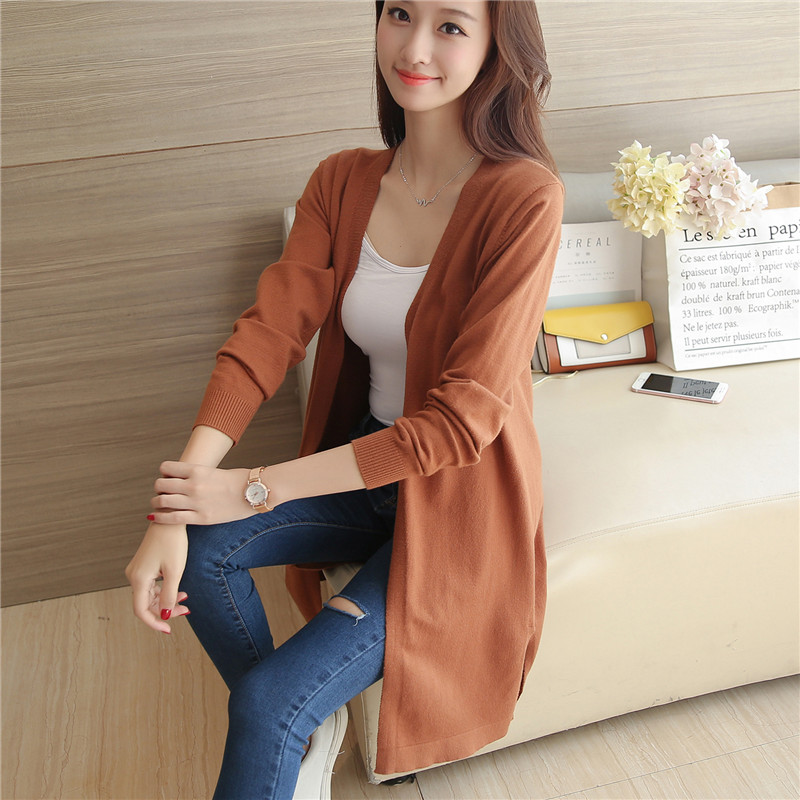 48 autumn new slim long sweater cardigan F1933 solid hem slit