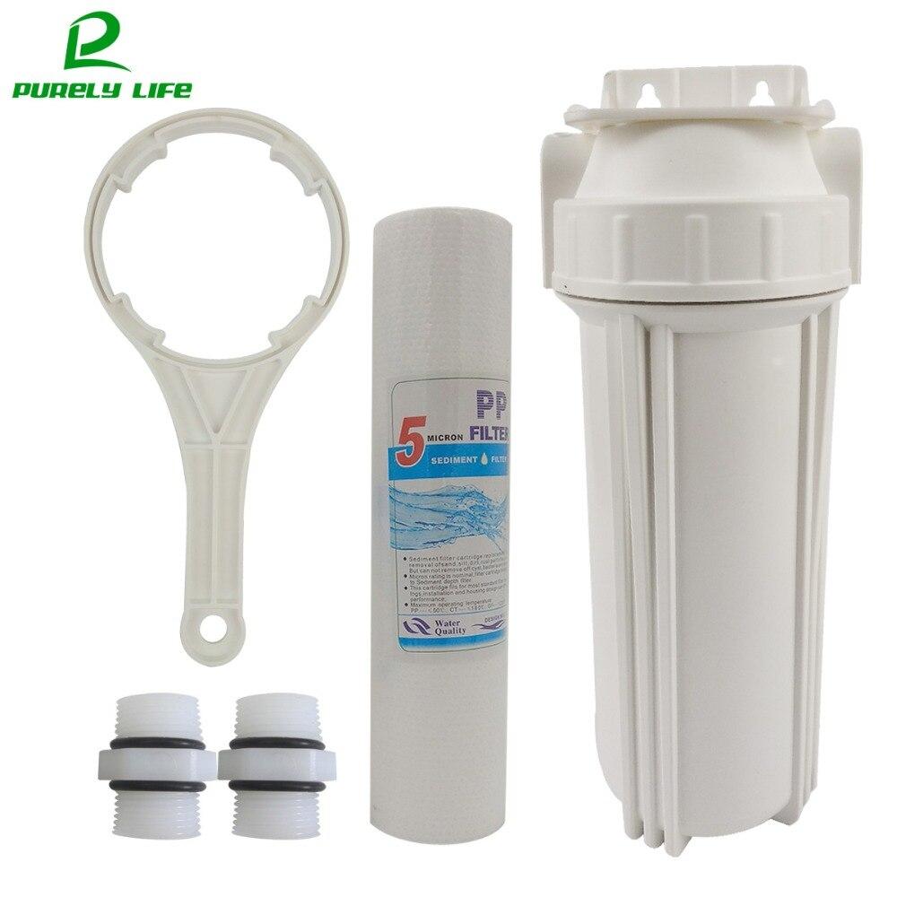 """Предварительный фильтр 1/2 """"1/4"""" подключение 10 дюймов фильтр для воды фильтр для очистки воды, PPF хлопок одноступенчатый предварительный фильтр с вешалкой"""