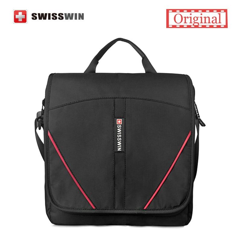 Swisswin Men Messenger Bag Brand Casual Women Shoulder Bag Small Black Satchels Crossbody Waterproof Zipper Bag